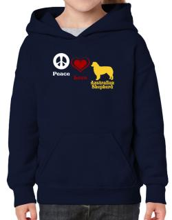 Peace, Love, Australian Shepherd Hoodie-Girls