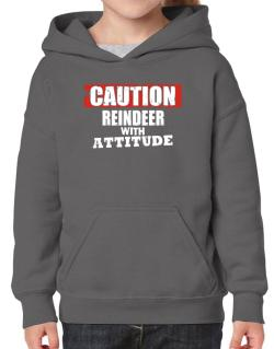 Caution - Reindeer With Attitude Hoodie-Girls
