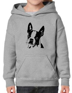 Boston Terrier Face Special Graphic Hoodie-Girls