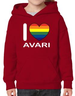 I Love Avari - Rainbow Heart Hoodie-Girls