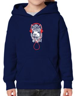 Llama with headphones Hoodie-Girls