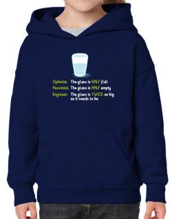 Optimist pessimist engineer glass problem Hoodie-Girls