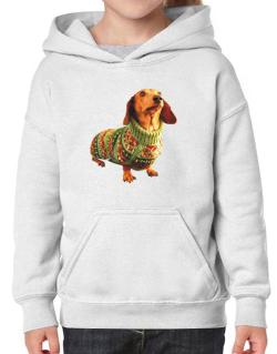 Dachshund christmas sweater Hoodie-Girls