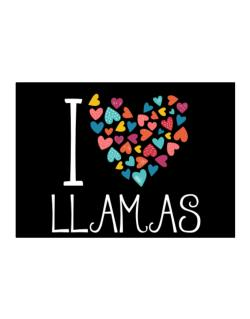 I love Llamas colorful hearts Sticker