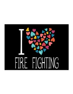 I love Fire Fighting colorful hearts Sticker