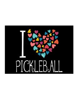 I love Pickleball colorful hearts Sticker