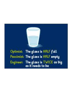 Optimist pessimist engineer glass problem Sticker