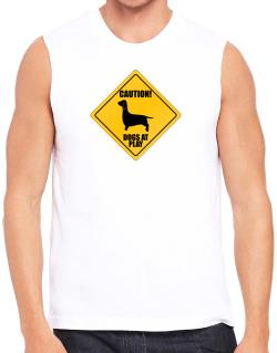 """ Dogs at play Dachshund ""  Sleeveless"