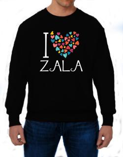 I love Zala colorful hearts Sweatshirt