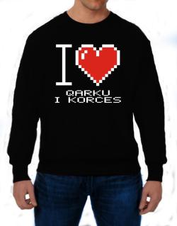 I love Qarku I Korces pixelated Sweatshirt