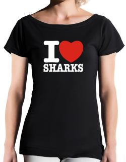 I Love Sharks T-Shirt - Boat-Neck-Womens