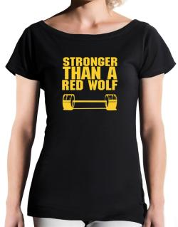 Stronger Than A Red Wolf T-Shirt - Boat-Neck-Womens