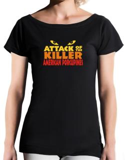 Attack Of The Killer American Porcupines T-Shirt - Boat-Neck-Womens