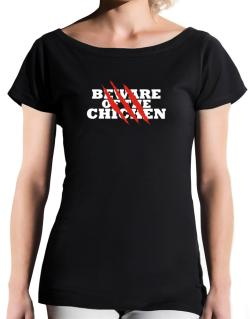 Beware Of The Chicken T-Shirt - Boat-Neck-Womens