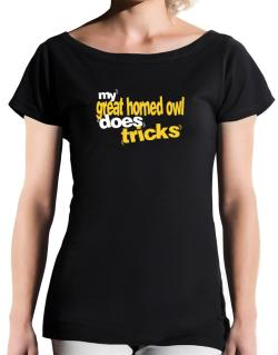 My Great Horned Owl Does Tricks T-Shirt - Boat-Neck-Womens
