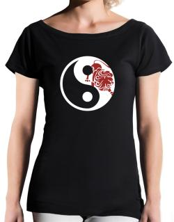 Yin Yang Leo T-Shirt - Boat-Neck-Womens