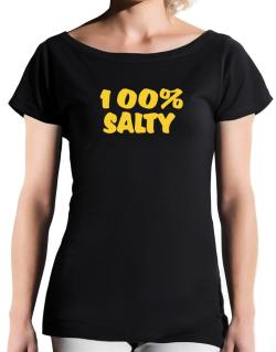 100% Salty T-Shirt - Boat-Neck-Womens