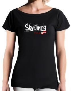 Skydiving Is In My Blood T-Shirt - Boat-Neck-Womens
