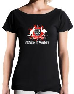 Australia Australian Rules Football / Blood T-Shirt - Boat-Neck-Womens