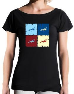 """ Aerobatics - Pop art "" T-Shirt - Boat-Neck-Womens"