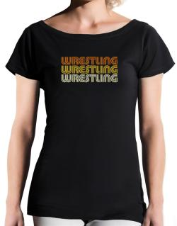 Wrestling Retro Color T-Shirt - Boat-Neck-Womens