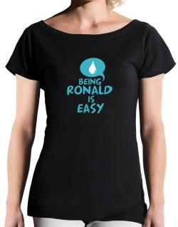 Being Ronald Is Easy T-Shirt - Boat-Neck-Womens