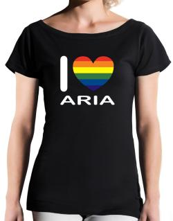 I Love Aria - Rainbow Heart T-Shirt - Boat-Neck-Womens