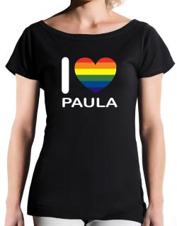 I Love Paula - Rainbow Heart T-Shirt - Boat-Neck-Womens