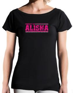 Property Of Alisha - Vintage T-Shirt - Boat-Neck-Womens
