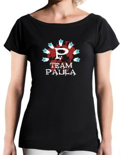 Team Paula - Initial T-Shirt - Boat-Neck-Womens