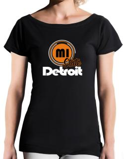 Detroit - State T-Shirt - Boat-Neck-Womens