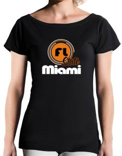 Miami - State T-Shirt - Boat-Neck-Womens