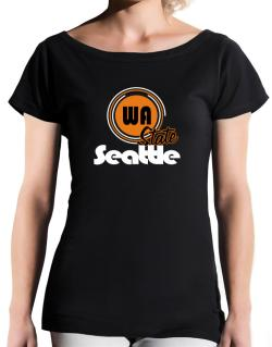 Seattle - State T-Shirt - Boat-Neck-Womens