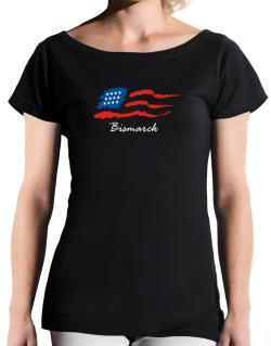 Bismarck - Us Flag T-Shirt - Boat-Neck-Womens