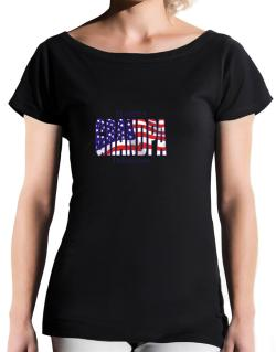 Grandpa Tallahassee - Us Flag T-Shirt - Boat-Neck-Womens