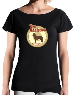 Dog Addiction : Siberian Husky T-Shirt - Boat-Neck-Womens
