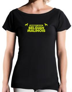 Property Of My Belgian Malinois T-Shirt - Boat-Neck-Womens