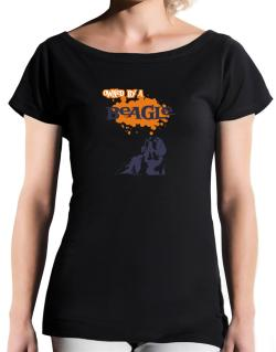 Owned By A Beagle T-Shirt - Boat-Neck-Womens
