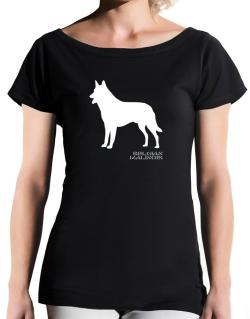Belgian Malinois Stencil / Chees T-Shirt - Boat-Neck-Womens