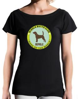 Beagle - Wiggle Butts Club T-Shirt - Boat-Neck-Womens