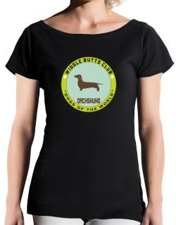 Dachshund - Wiggle Butts Club T-Shirt - Boat-Neck-Womens