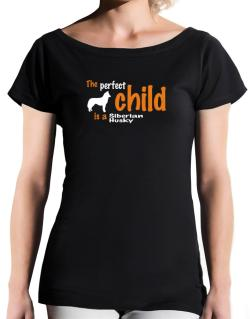 The Perfect Child Is A Siberian Husky T-Shirt - Boat-Neck-Womens