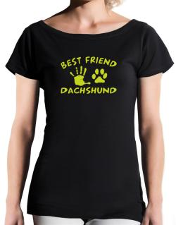 My Best Friend Is My Dachshund T-Shirt - Boat-Neck-Womens