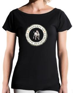 """ PROPERTY OF American Bulldog ATHLETIC DEPARTMENT TRANSFER "" T-Shirt - Boat-Neck-Womens"