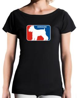 Schnauzer Sports Logo  T-Shirt - Boat-Neck-Womens