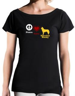 Peace, Love, Siberian Husky T-Shirt - Boat-Neck-Womens