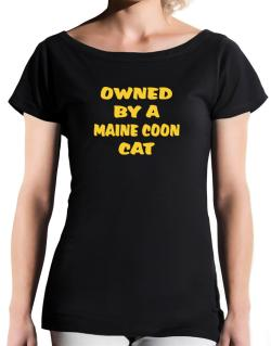 Owned By S Maine Coon T-Shirt - Boat-Neck-Womens