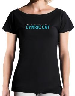 My Best Friend Is A Cymric T-Shirt - Boat-Neck-Womens