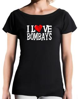 I Love Bombays - Scratched Heart T-Shirt - Boat-Neck-Womens
