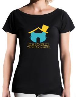Home Is Where Ragdoll Is T-Shirt - Boat-Neck-Womens